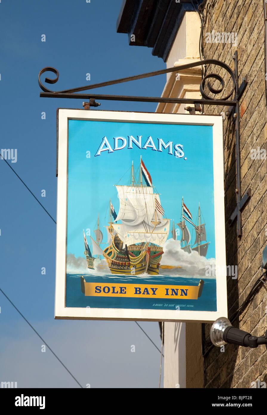 Segno per la suola Bay Inn, Southwold, Suffolk, Regno Unito Immagini Stock