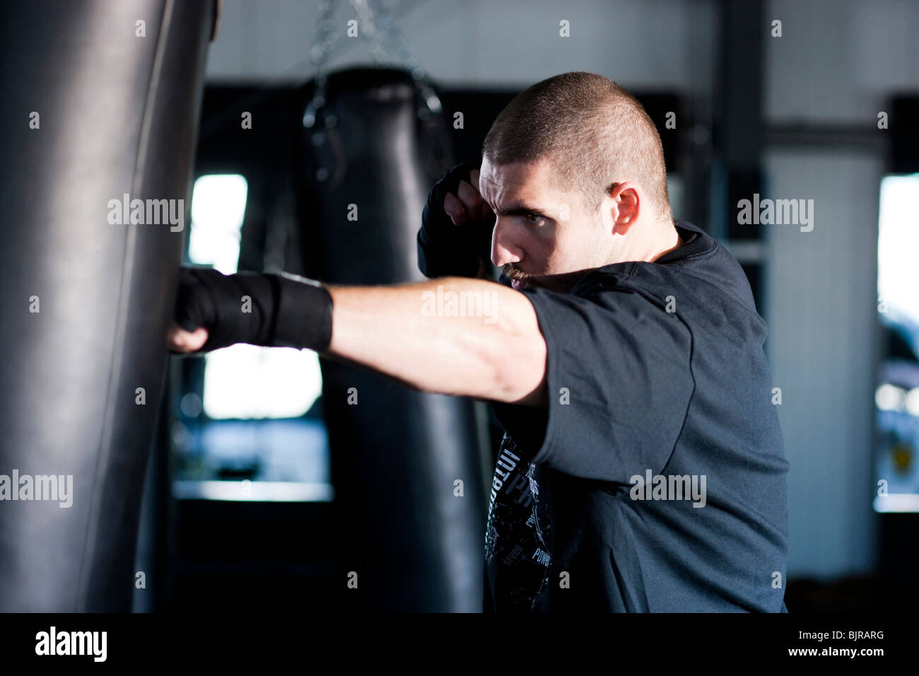 USA Utah, American forcella, Boxer punzonatura Sacco boxe Immagini Stock