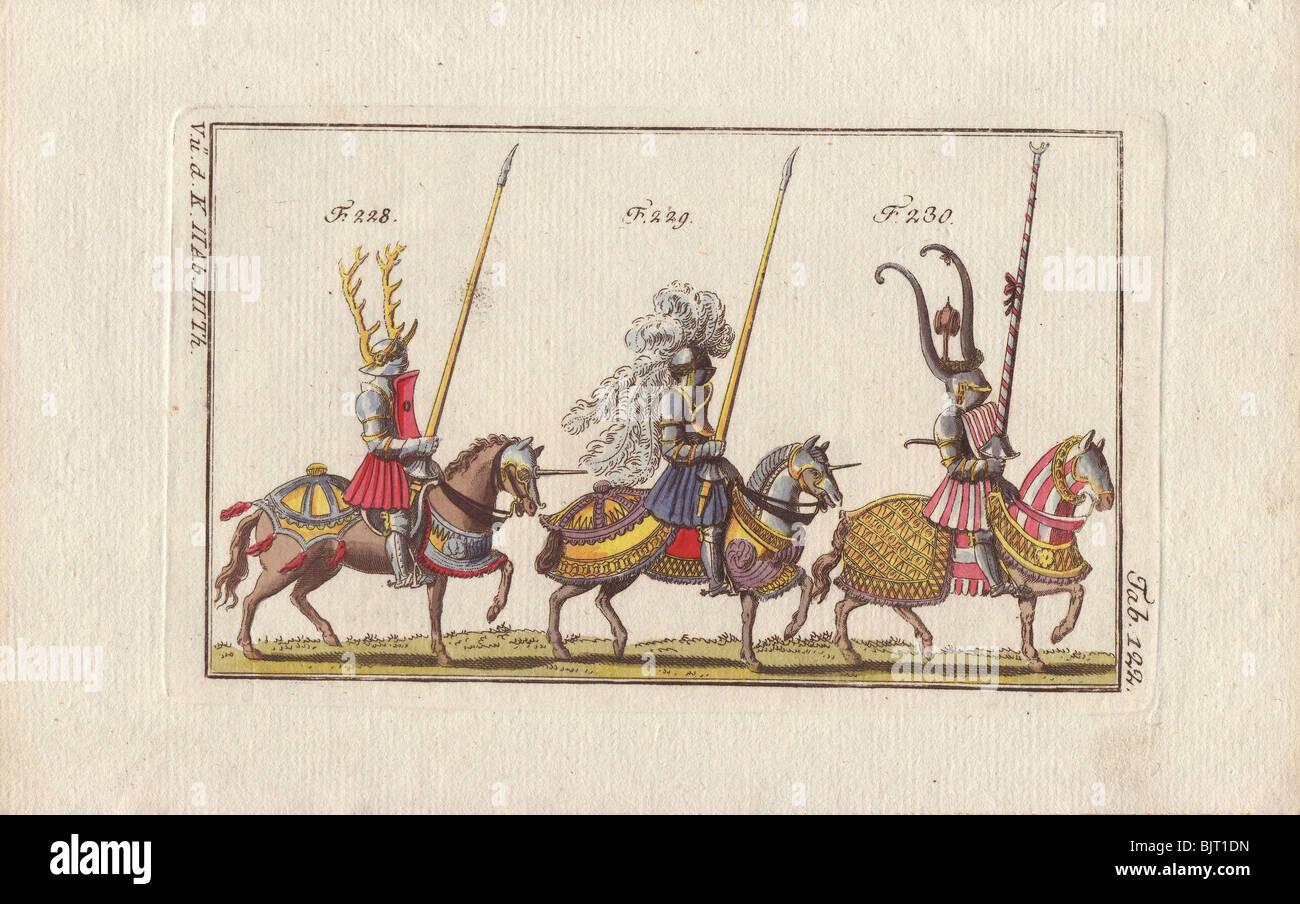 Tre cavalieri montati in armatura per tornei e corsi. Immagini Stock