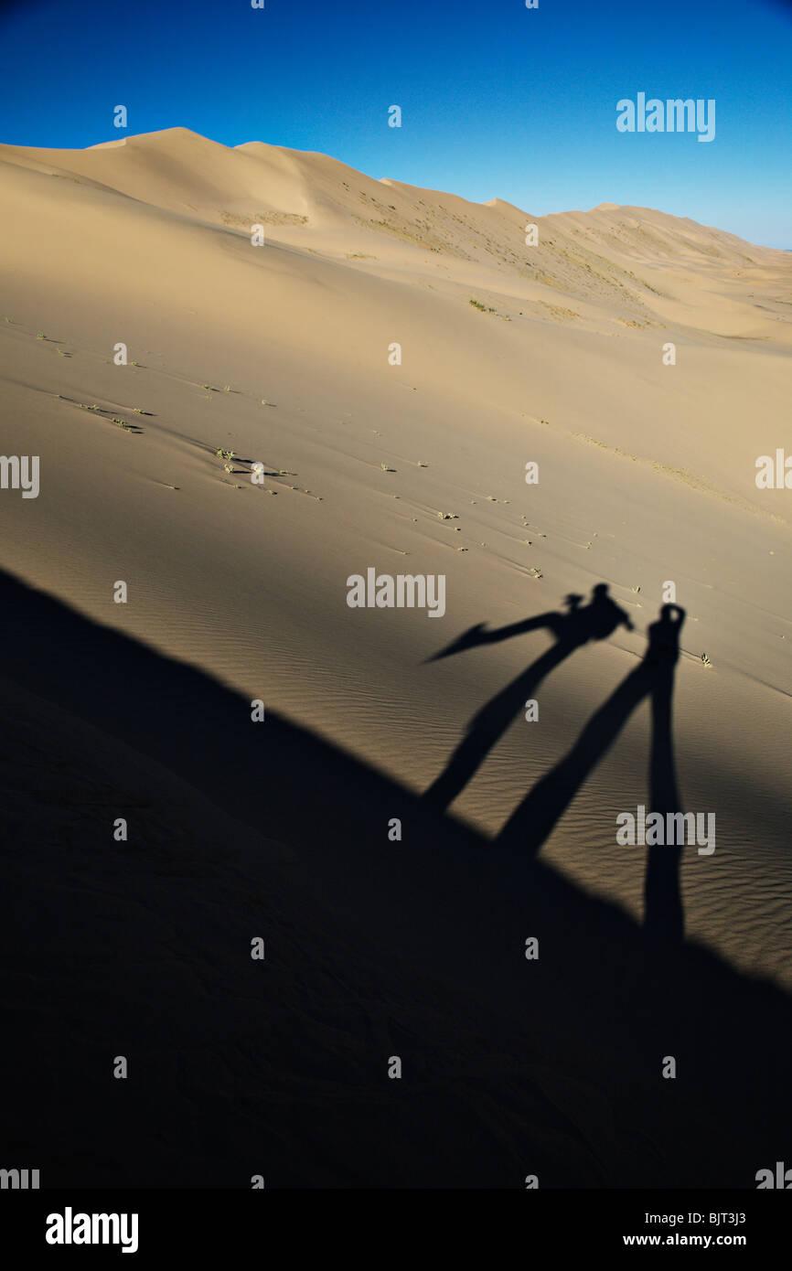 Khongoryn Els (cantando le sabbie) sono tra le più alte dune di sabbia nel deserto dei Gobi, Mongolia meridionale. Immagini Stock