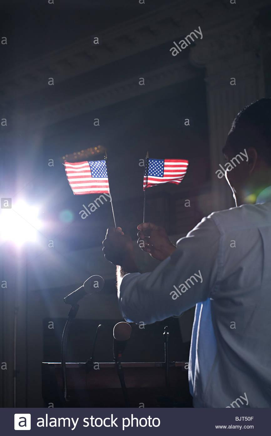 Un politico facendo un discorso Immagini Stock