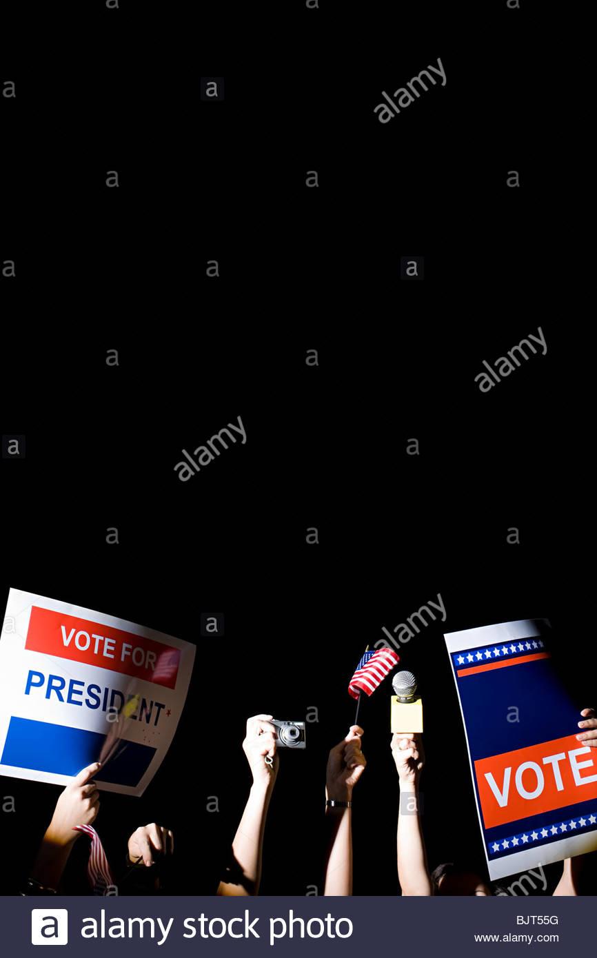 Folla a una politica dei rally Immagini Stock