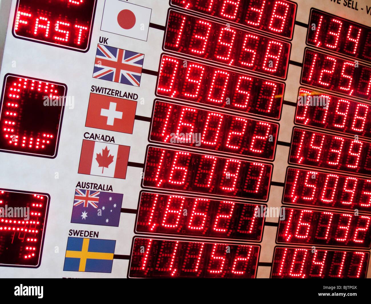 Tasso di cambio contro l'euro, bureau de change Immagini Stock