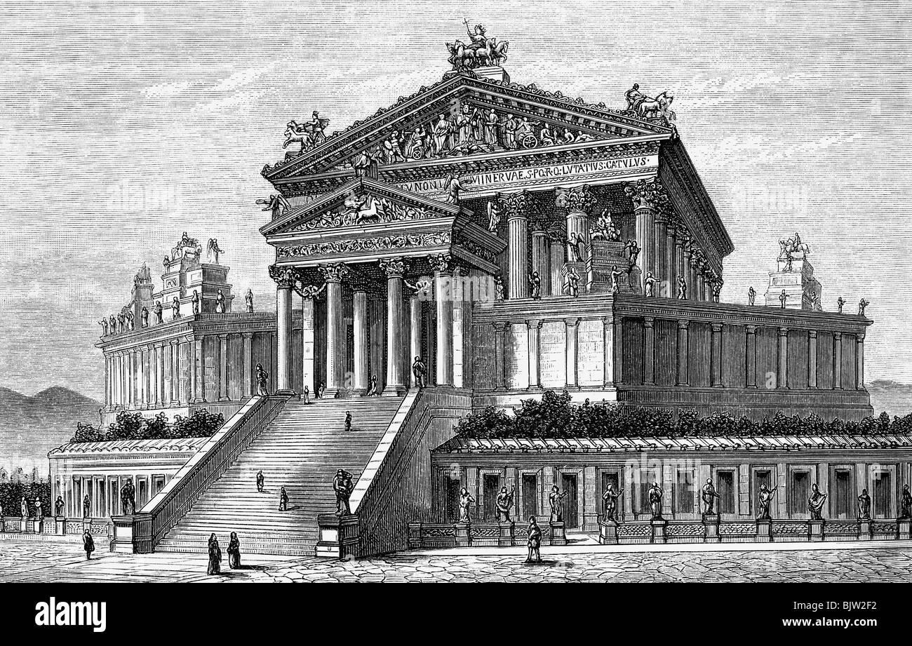 Geografia / viaggio, Italia, Roma, Campidoglio, Tempio di Giove Capitolino, veduta esterna, circa 100 d.C., ricostruzione Foto Stock