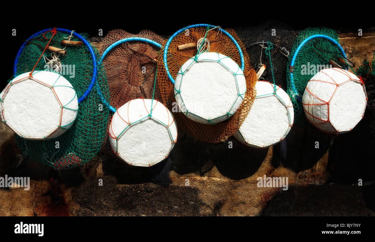 Le reti da pesca, Jeju, Corea del Sud Immagini Stock