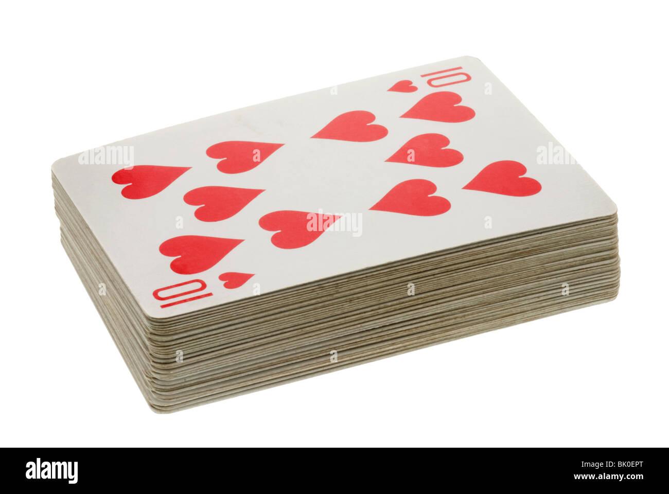 Mazzo di carte da gioco che mostra il dieci di cuori Immagini Stock