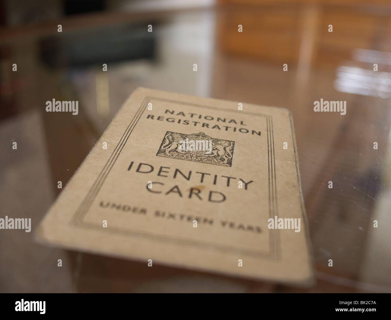 Registrazione nazionale di carta di identità a partire dal 1950 Immagini Stock