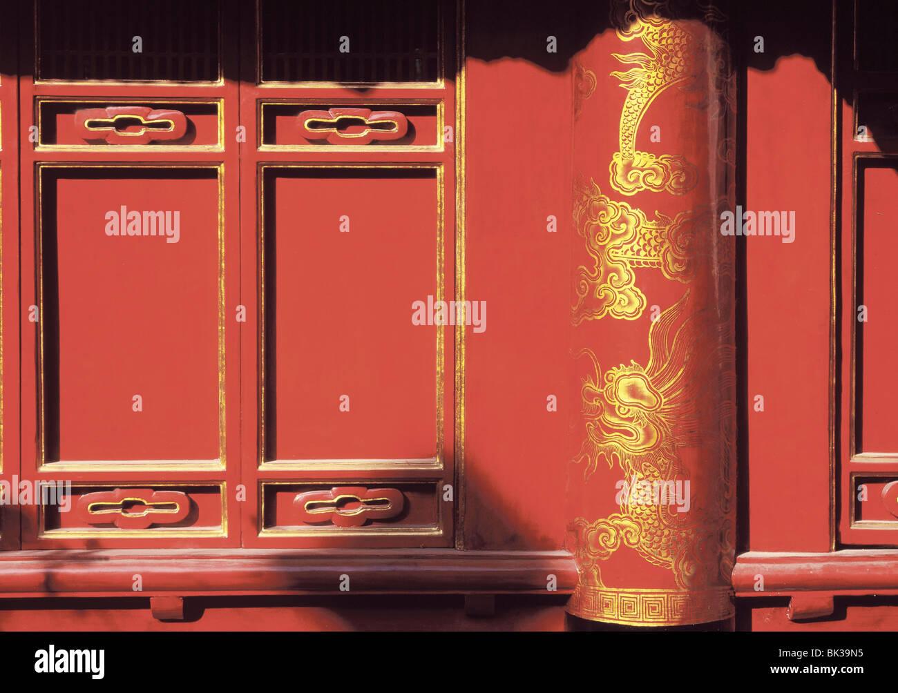 Porte laccate, Tempio della Letteratura, Hanoi, Vietnam, Indocina, Asia sud-orientale, Asia Immagini Stock