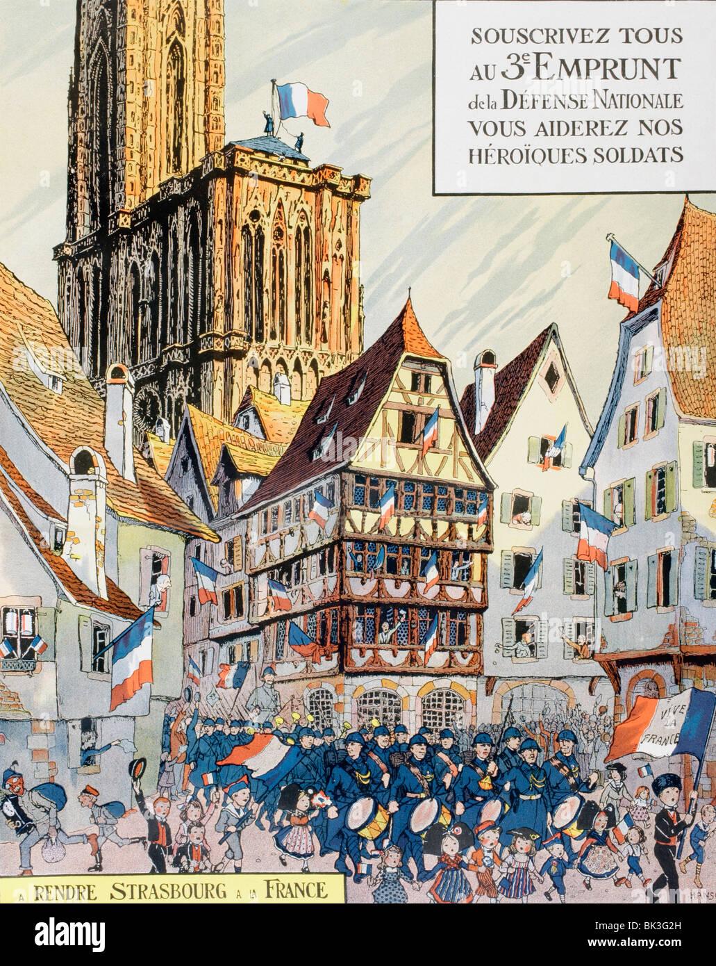 Riproduzione di un poster da Hansi per la terza la difesa nazionale prestito nel novembre 1917. Immagini Stock