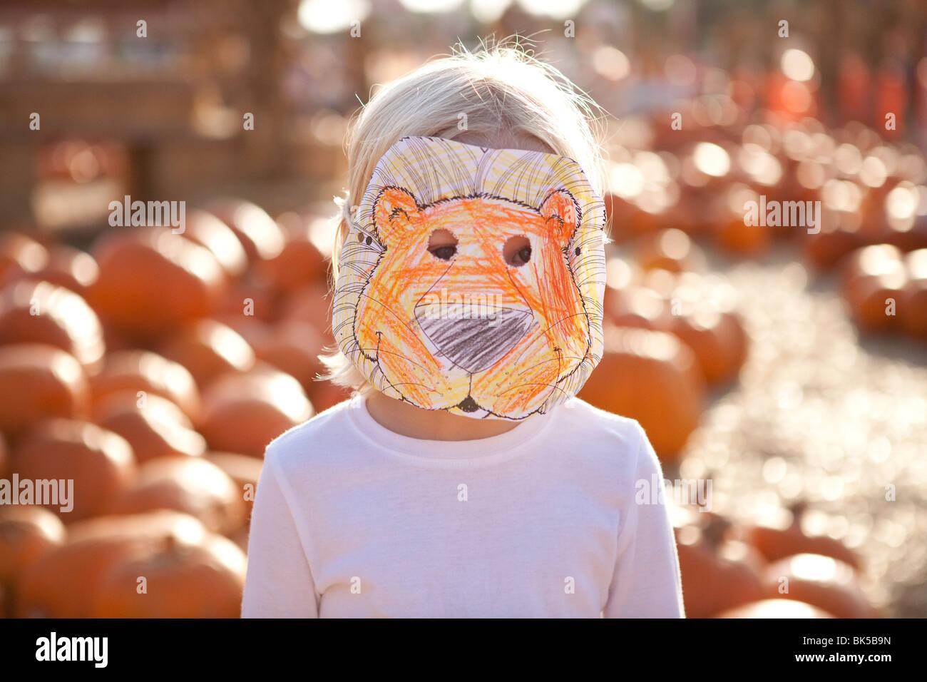 Un giovane bambino con fatti in casa leone maschera Immagini Stock