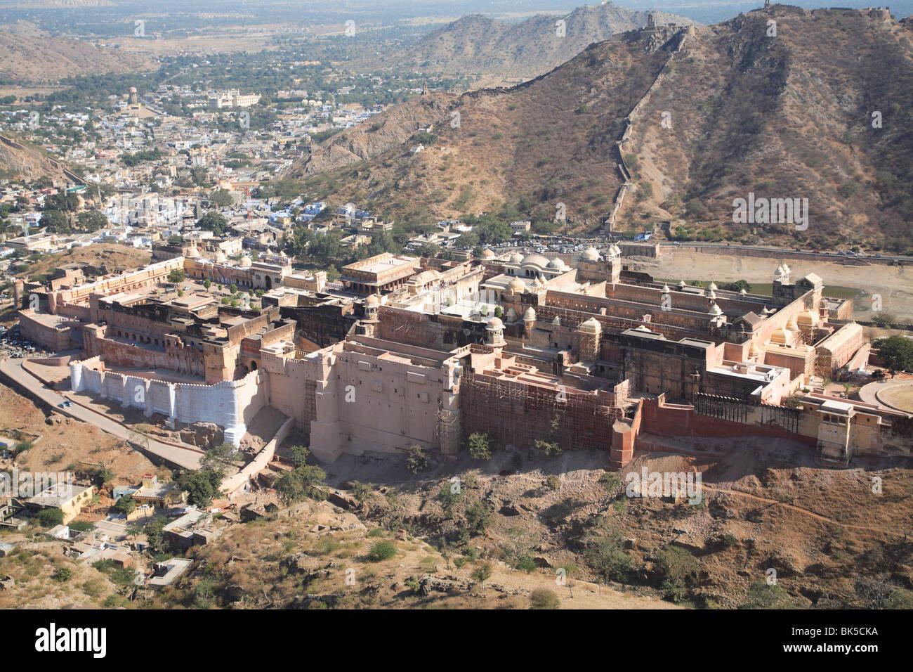 Vista aerea del Forte Amber Palace Jaipur, Rajasthan, India, Asia Immagini Stock