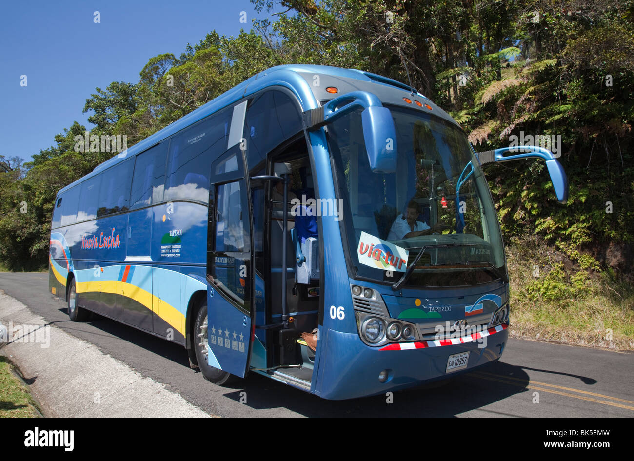 Tour bus pullman turistico Costa Rica central valley highlands Immagini Stock