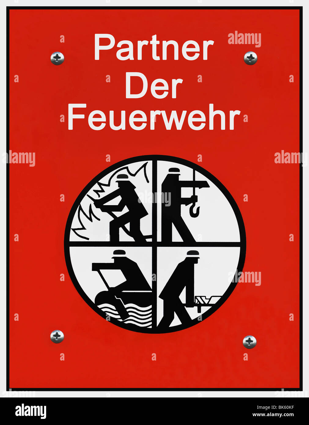 Segno, partner di vigili del fuoco, con simboli di vigili del fuoco, salvataggio e spegnimento, salvataggio, protezione Immagini Stock