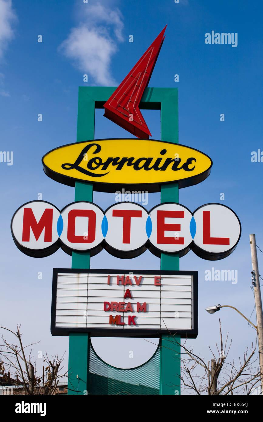 Lorraine Motel dove il re è stato assassinato è ora National Civil Rights Museum, Memphis, Tennessee Foto Stock