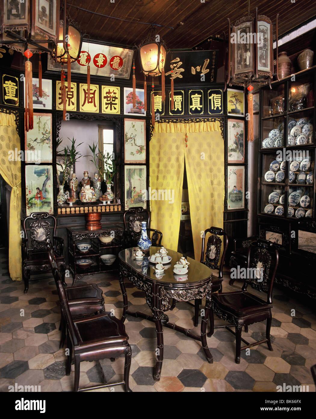 Sala di ricevimento di Diep Dong Nguyen House, Hoi An, Vietnam Immagini Stock