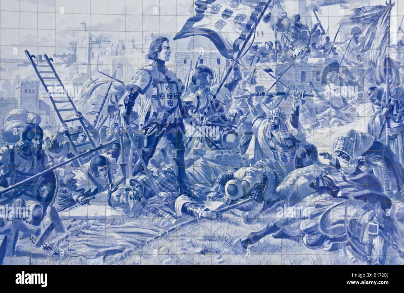 Azulejos piastrelle di terracotta murale alla stazione ferroviaria