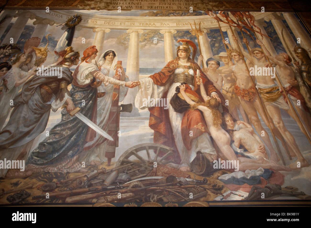 Illustrazione raffigurante Britannia in un edificio governativo, Foreign Office, Whitehall a Londra, Inghilterra Immagini Stock