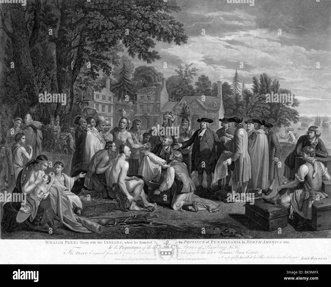Illustrazione mostra William Penn in piedi con un gruppo di coloni e nativi americani. Immagini Stock