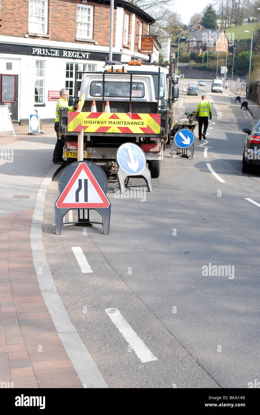 Autostrade lavori stradali di manutenzione Immagini Stock