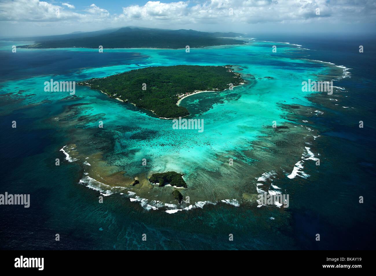 Vista aerea Manono, nu'ulopa & Upolu isole Samoa, Immagini Stock
