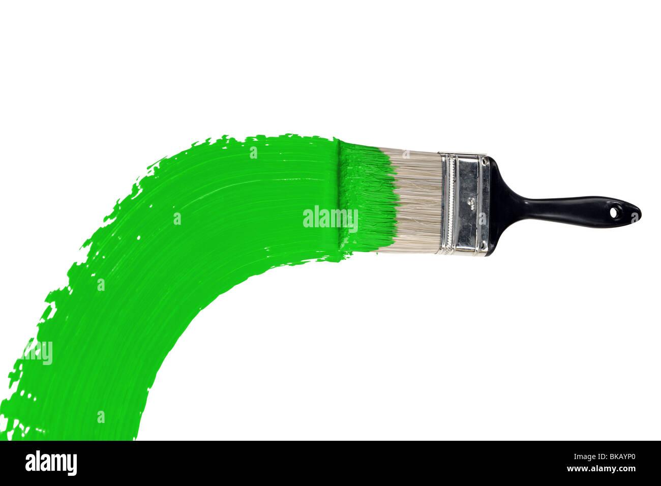 Spazzola con della vernice verde isolato su sfondo bianco Immagini Stock