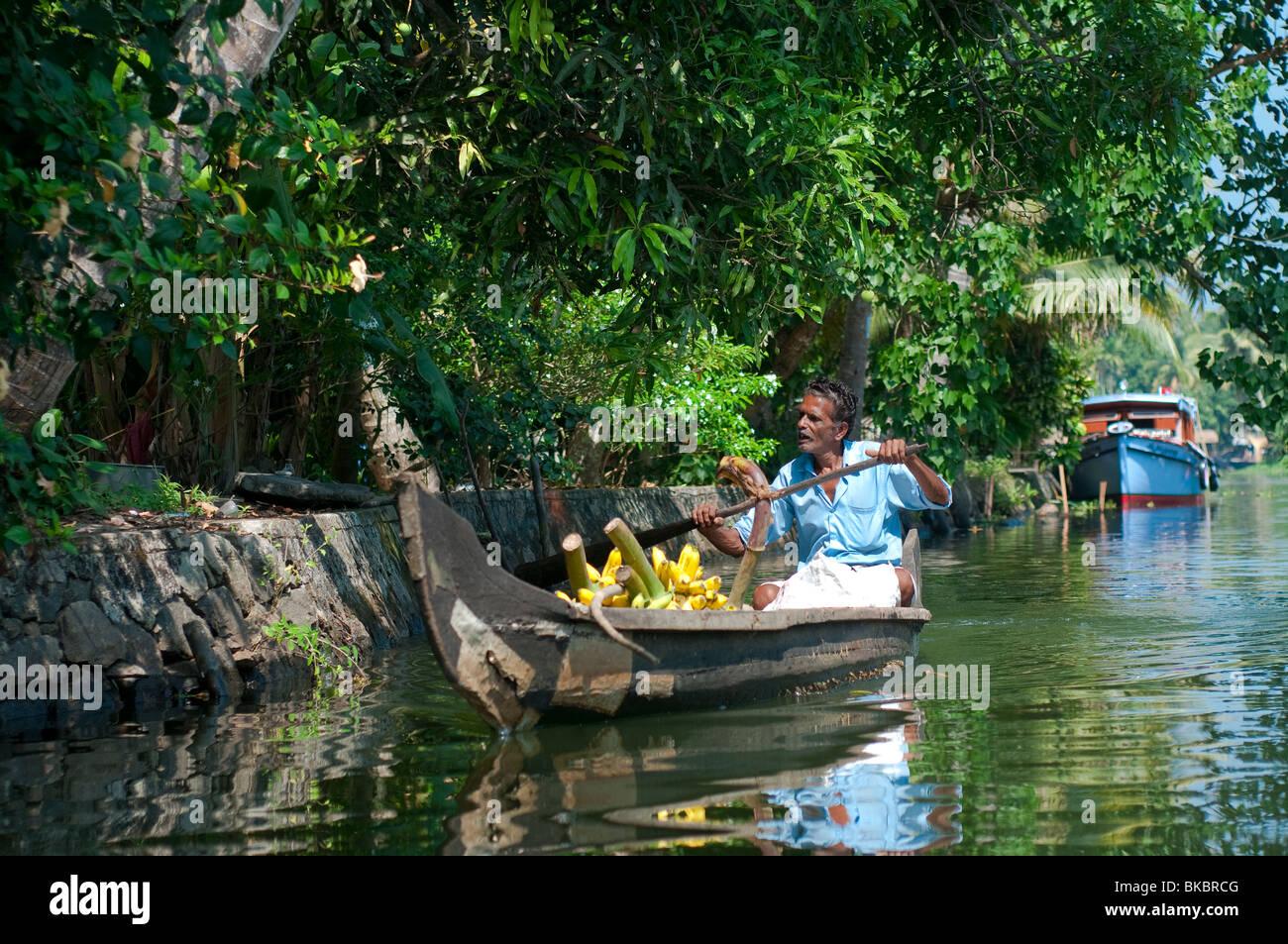 Commerciante la vendita delle banane sul Alleppey backwater, Kerala, India Immagini Stock