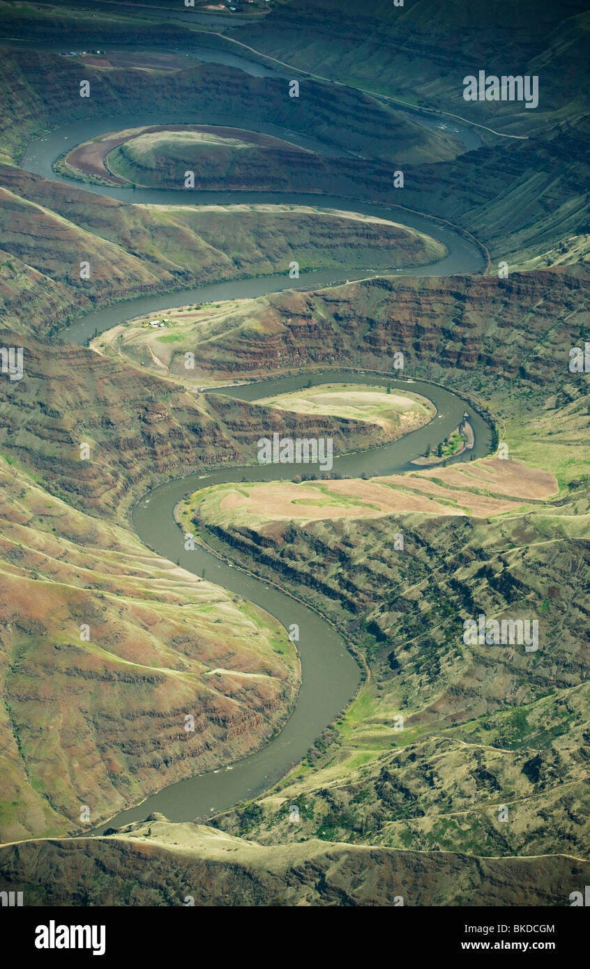 Grande Ronde River Canyon, affluente del fiume Snake, vicino Clarkston, Antenna di Washington Immagini Stock