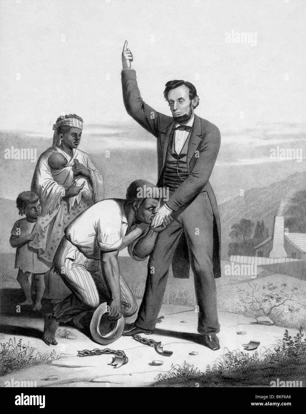 Stampa Vintage circa 1862 raffigurante il presidente statunitense Abraham Lincoln baciato sulla mano da un liberato Immagini Stock