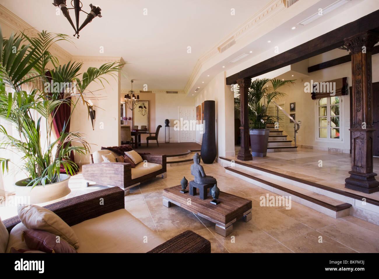 Tall houseplant in grandi split-livello aperto-piano hall soggiorno ...