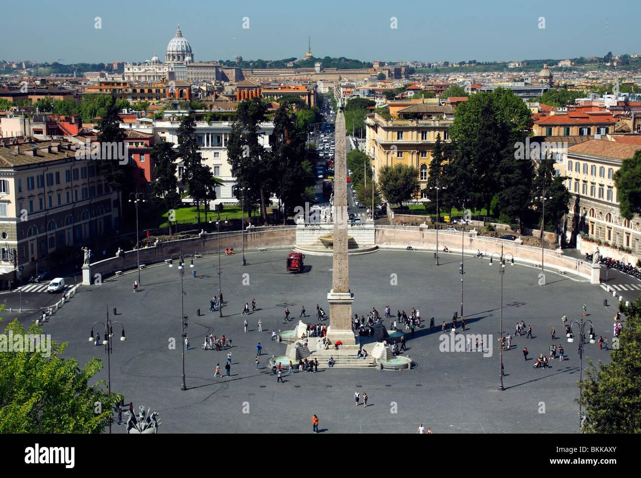 Una Vista Di Piazza Del Popolo Come Visto Dalla Terrazza Del