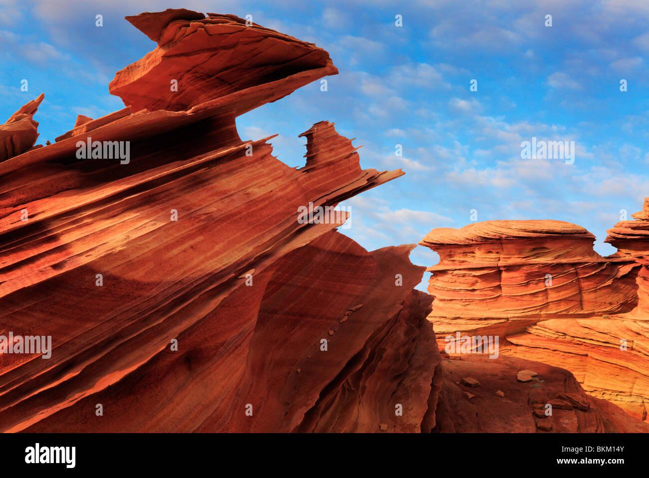 Spettacolari formazioni rocciose in Vermiglio scogliere monumento nazionale, Arizona Immagini Stock