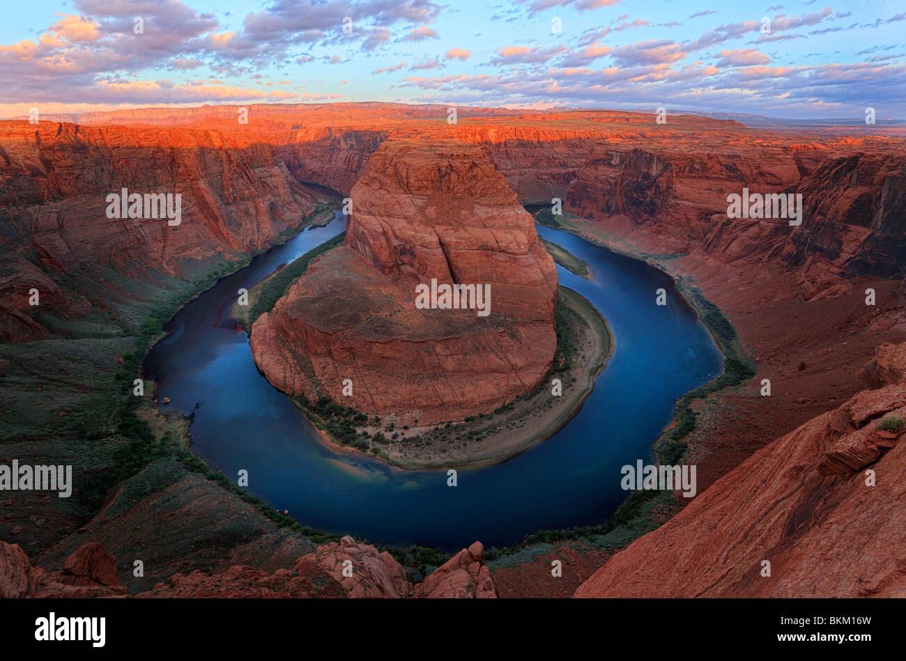 Curva a ferro di cavallo sul fiume Colorado vicino a pagina, Arizona Immagini Stock