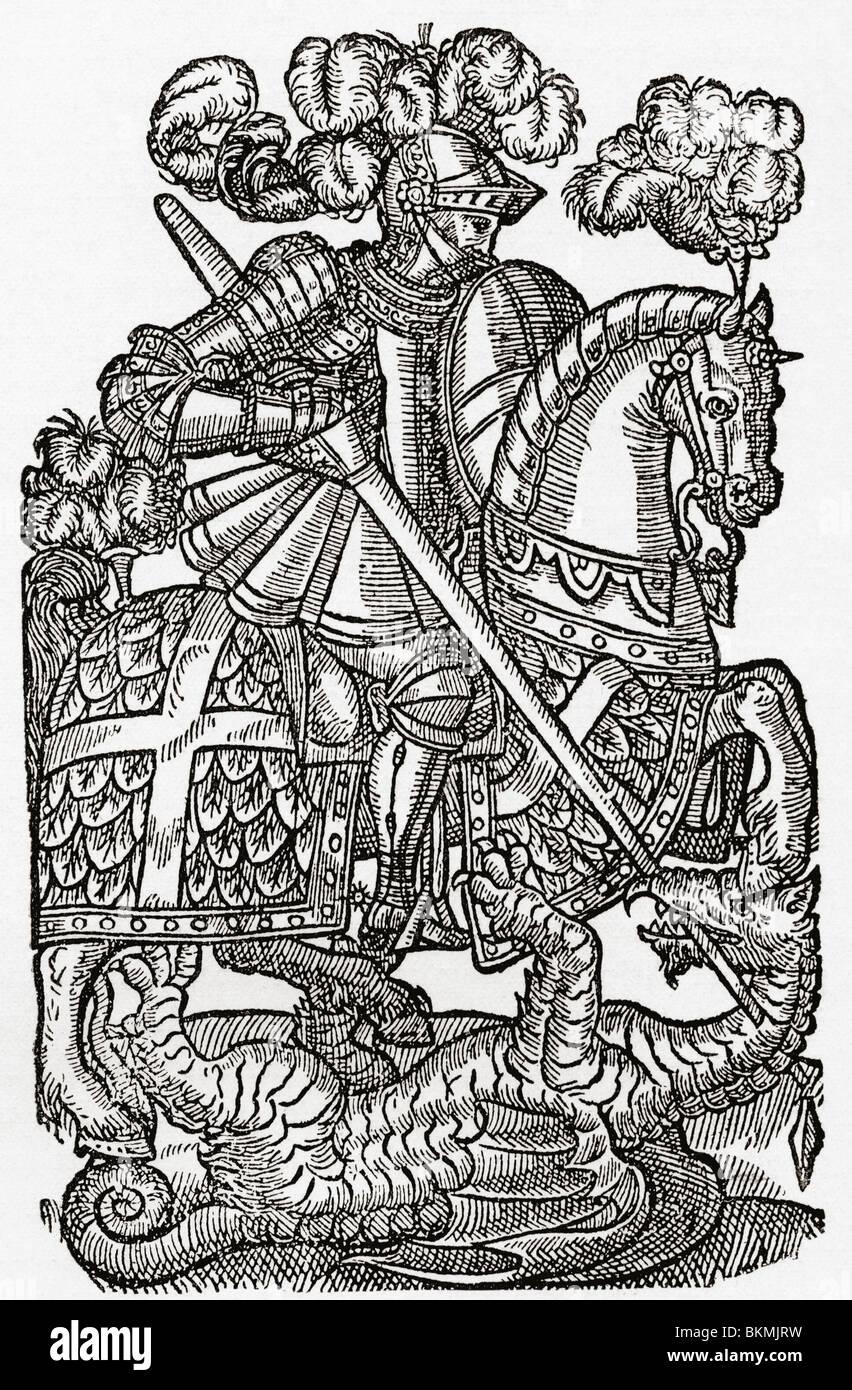 La Croce Rossa Knight, San Giorgio e il drago, Immagini Stock