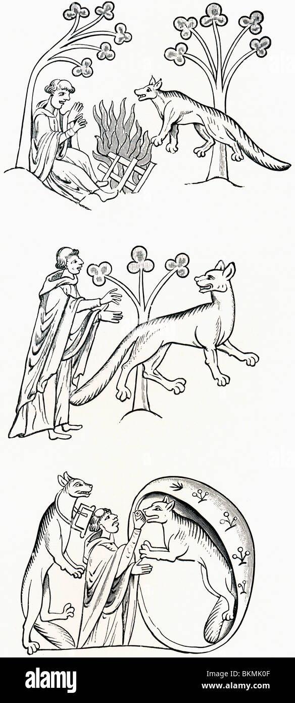 Leggenda del sacerdote e popolo cambiato in sono stati-lupi. Immagini Stock