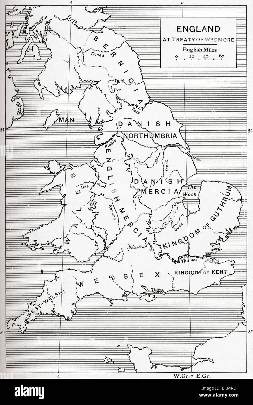 Mappa di Inghilterra al momento del Trattato di Wedmore , 878. Immagini Stock