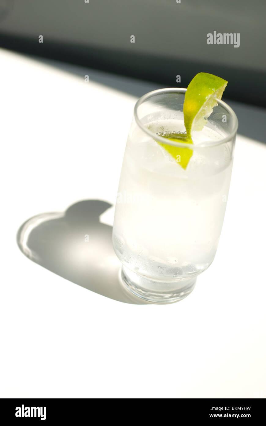 Acqua tonica con ghiaccio e fettina di limone Immagini Stock