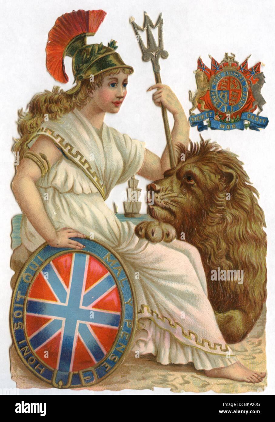 Britannia con Lion Immagini Stock