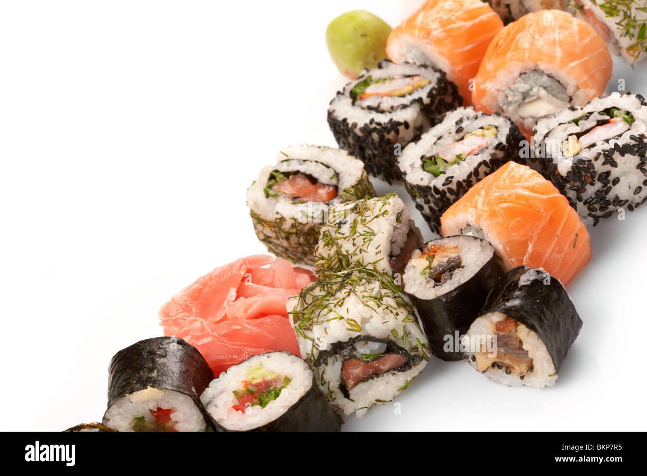 Diversi tipi di sushi Immagini Stock