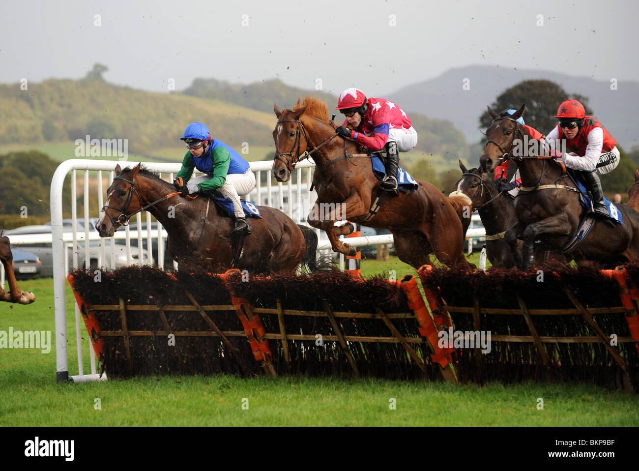 Corse di cavalli su ostacoli a Ludlow Race Course in Shropshire Regno Unito Immagini Stock