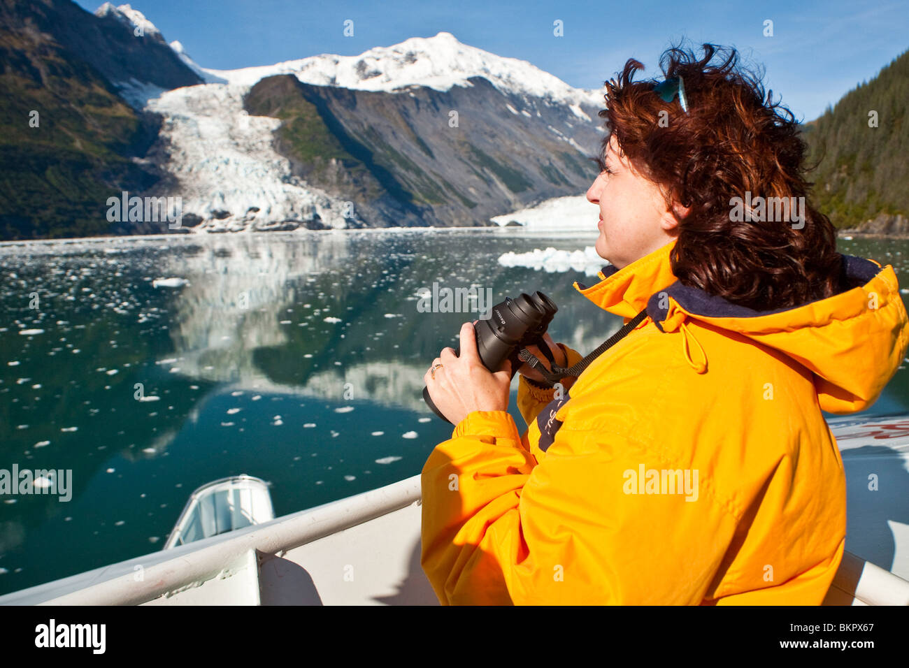 Usi turistici di binocolo per visualizzare cascata e Barry ghiacciai da un tour in barca a Barry braccio del Prince Immagini Stock