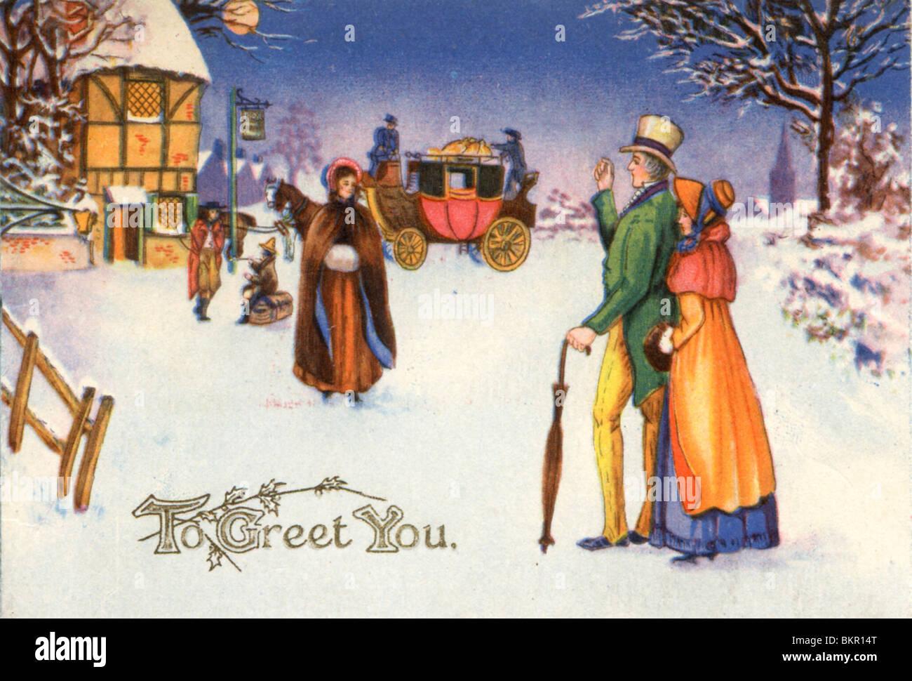 Immagini Natale Vittoriano.Scheda Di Natale Vittoriano Scena Di Neve Foto Immagine Stock