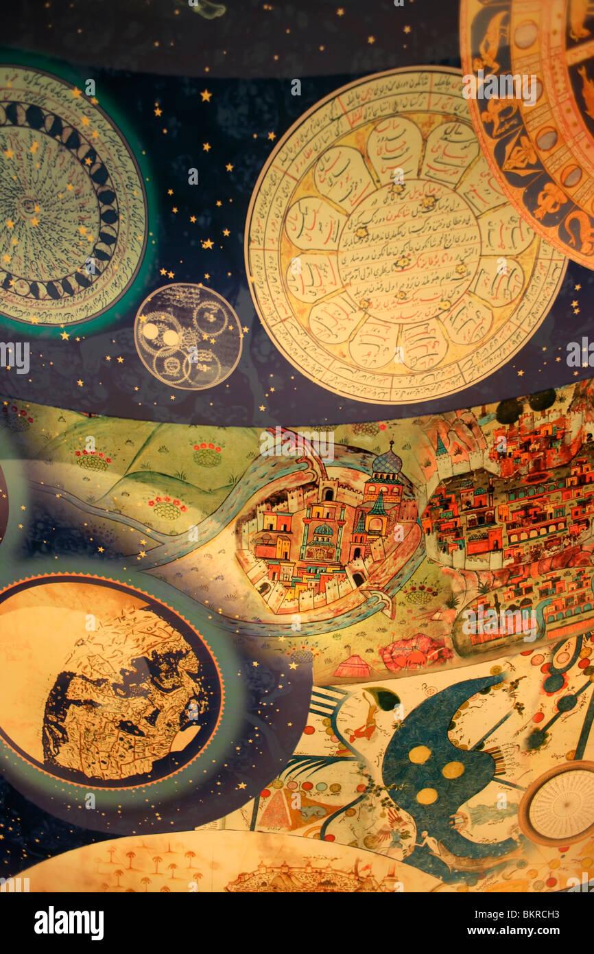 Soffitto presso il Museo di Storia della scienza islamica e tecnologia, Istanbul, Turchia Immagini Stock