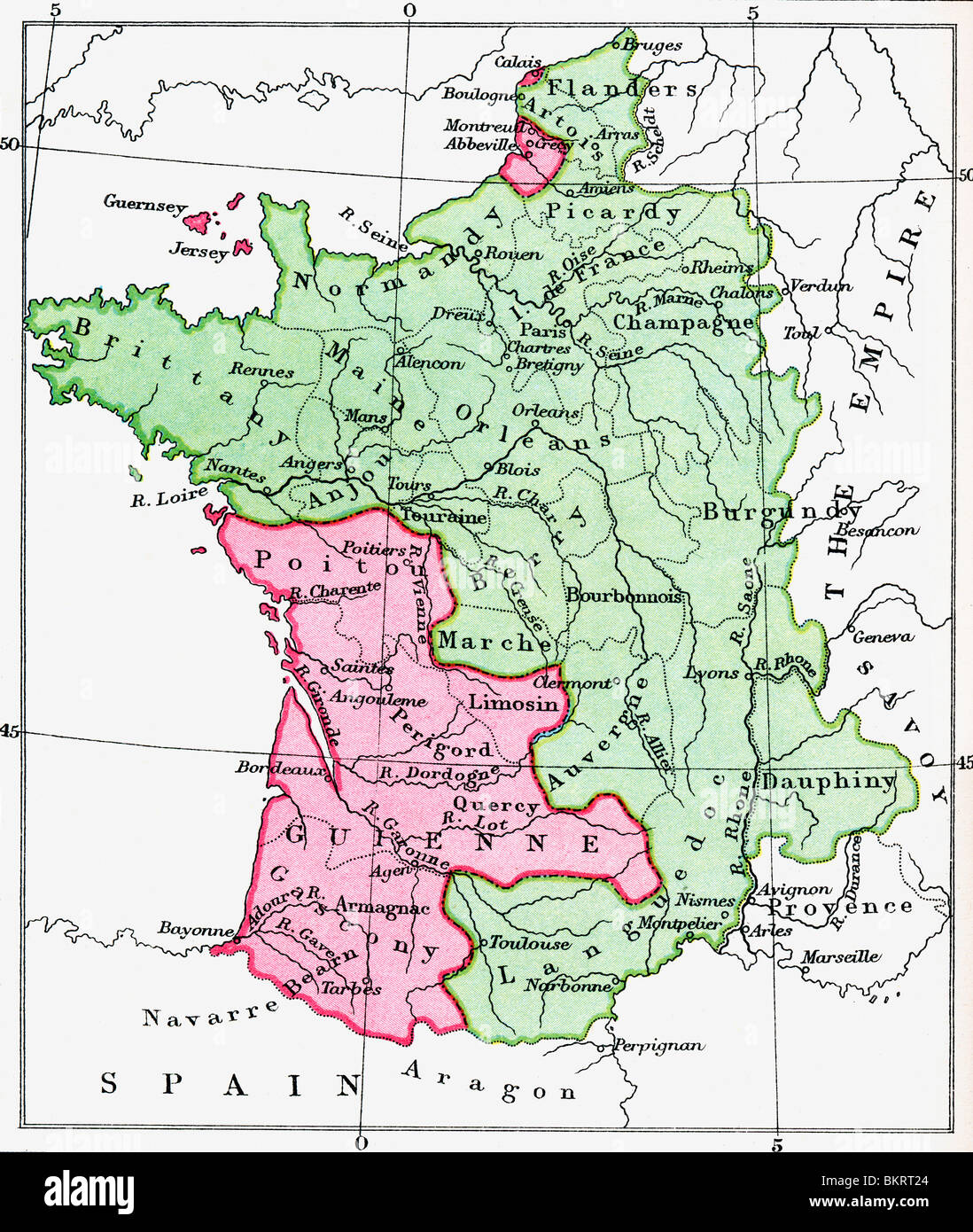 Mappa della Francia al momento del Trattato di Bretigny, 1360. Immagini Stock