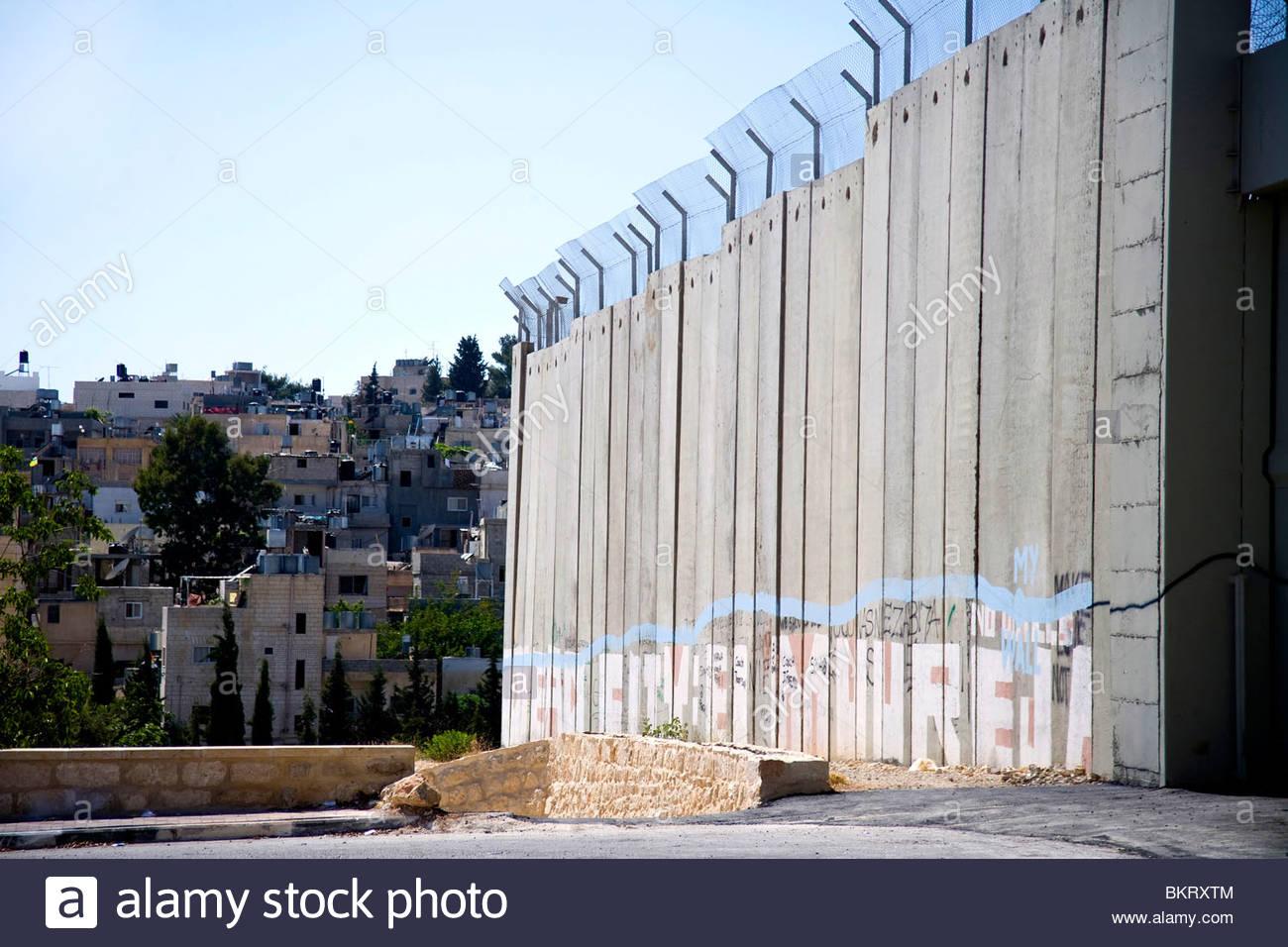 Muro che circonda Betlemme,Palestina,Medio Oriente,Asia Foto Stock