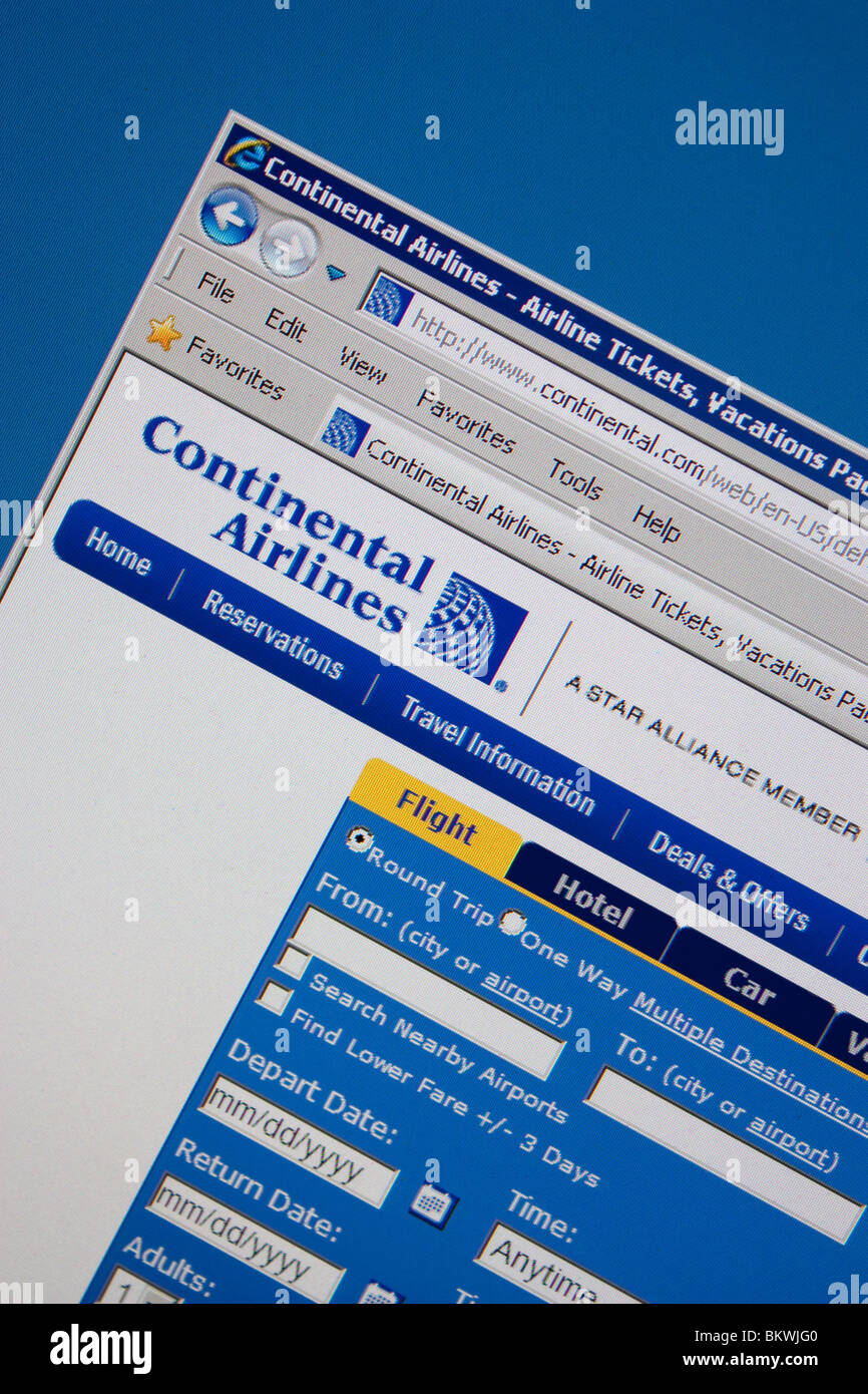 Continental Airlines travel website Immagini Stock