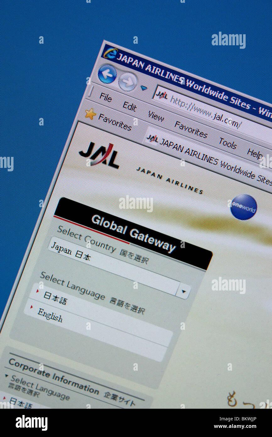 Compagnia aerea giapponese JAL sito web di viaggio Immagini Stock