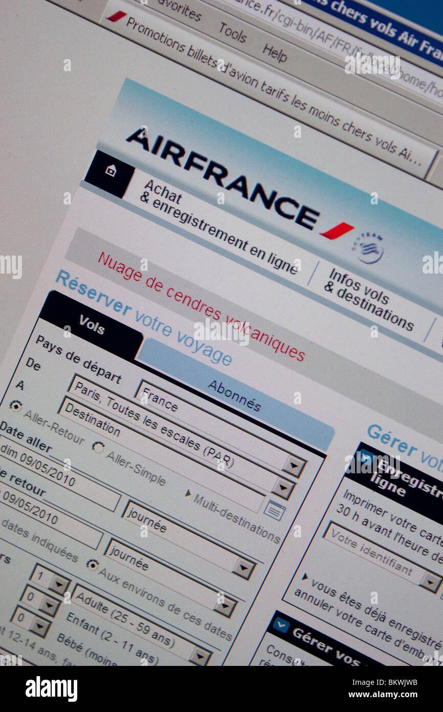 Airfrance viaggi online il sito web di prenotazione Immagini Stock