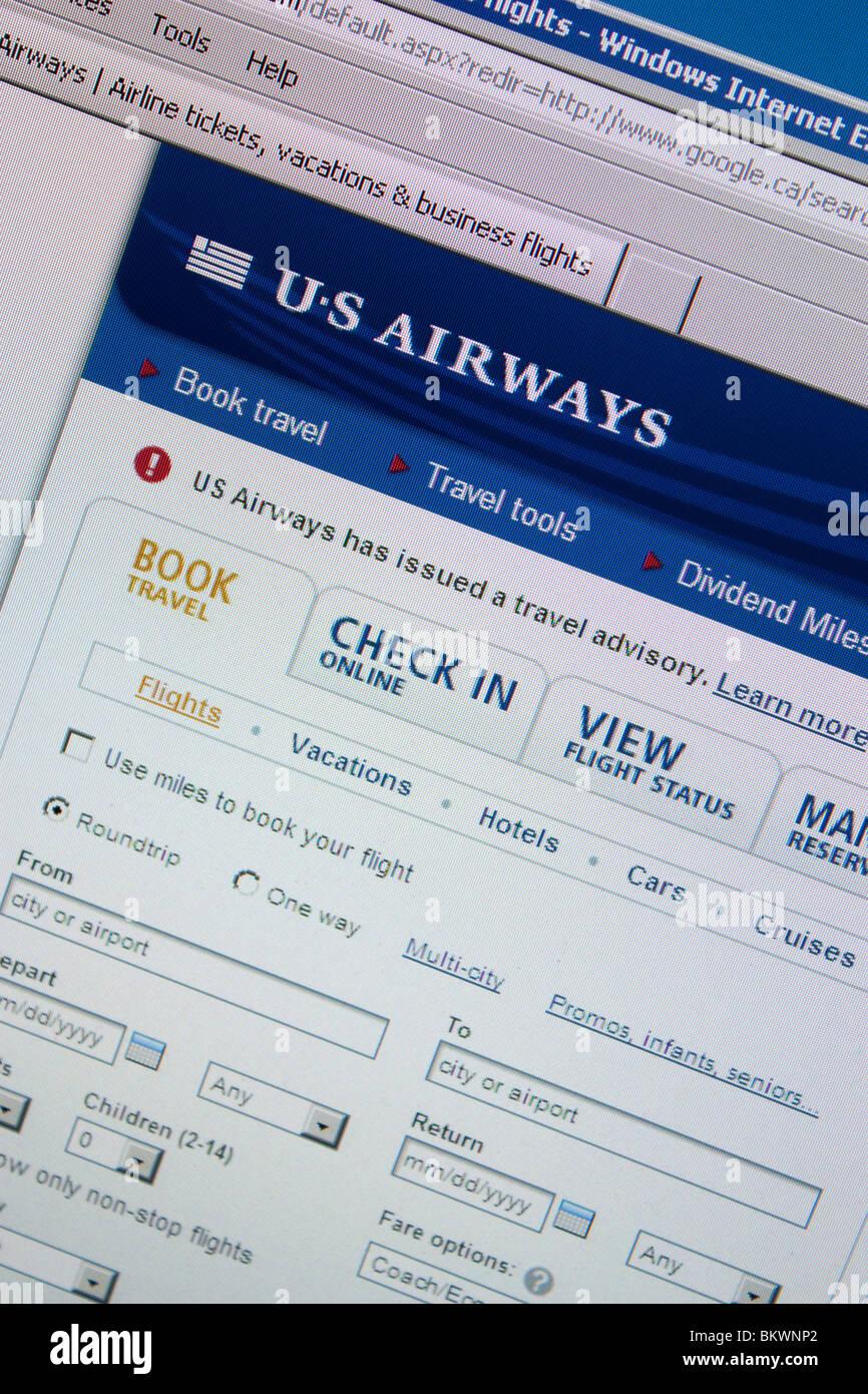 US Airways sito web di viaggio Immagini Stock