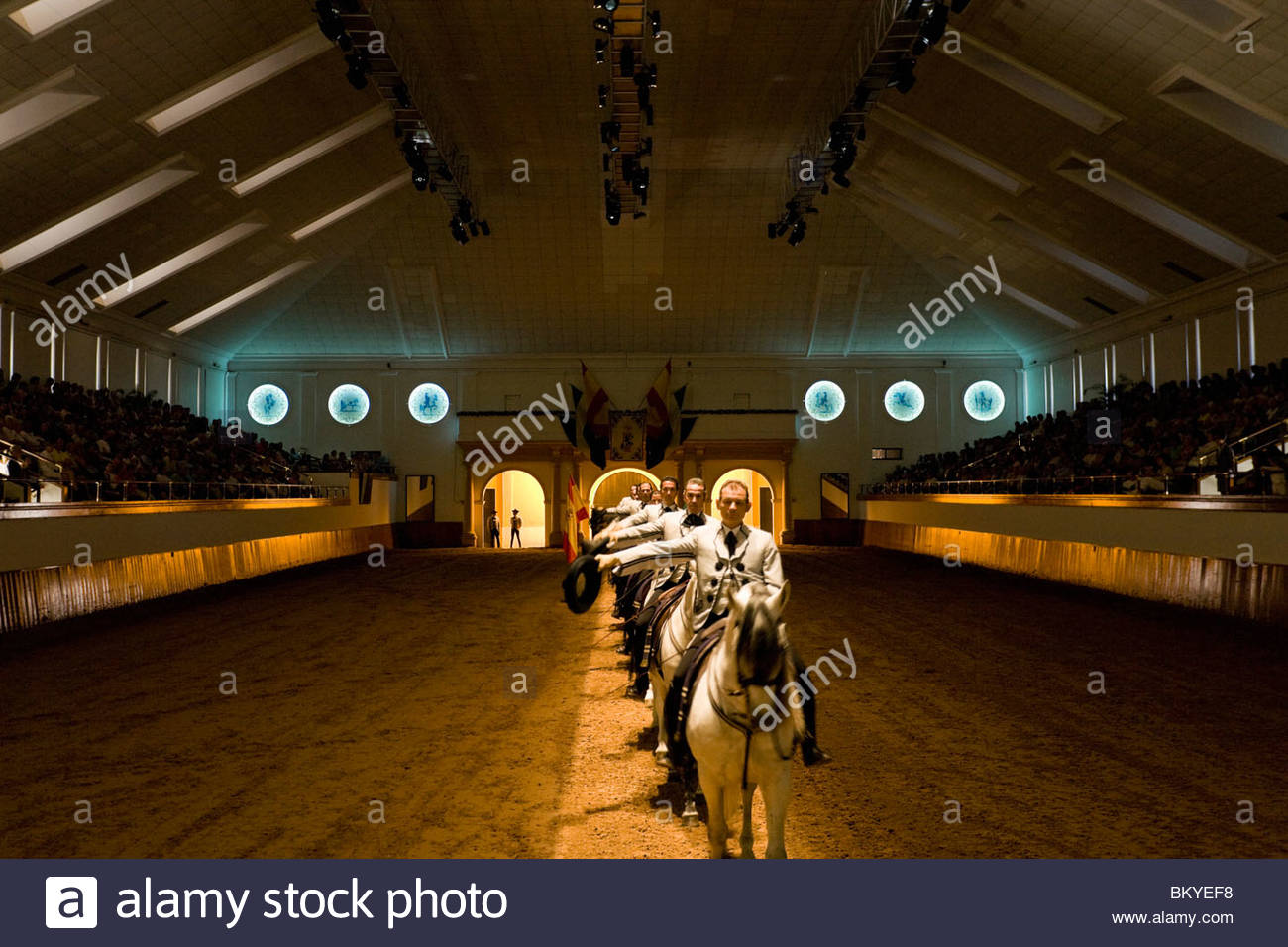 Royal la scuola di equitazione spagnola di Jerez de la Frontera, Andalusia, Provincia di Cadice, Spagna Immagini Stock