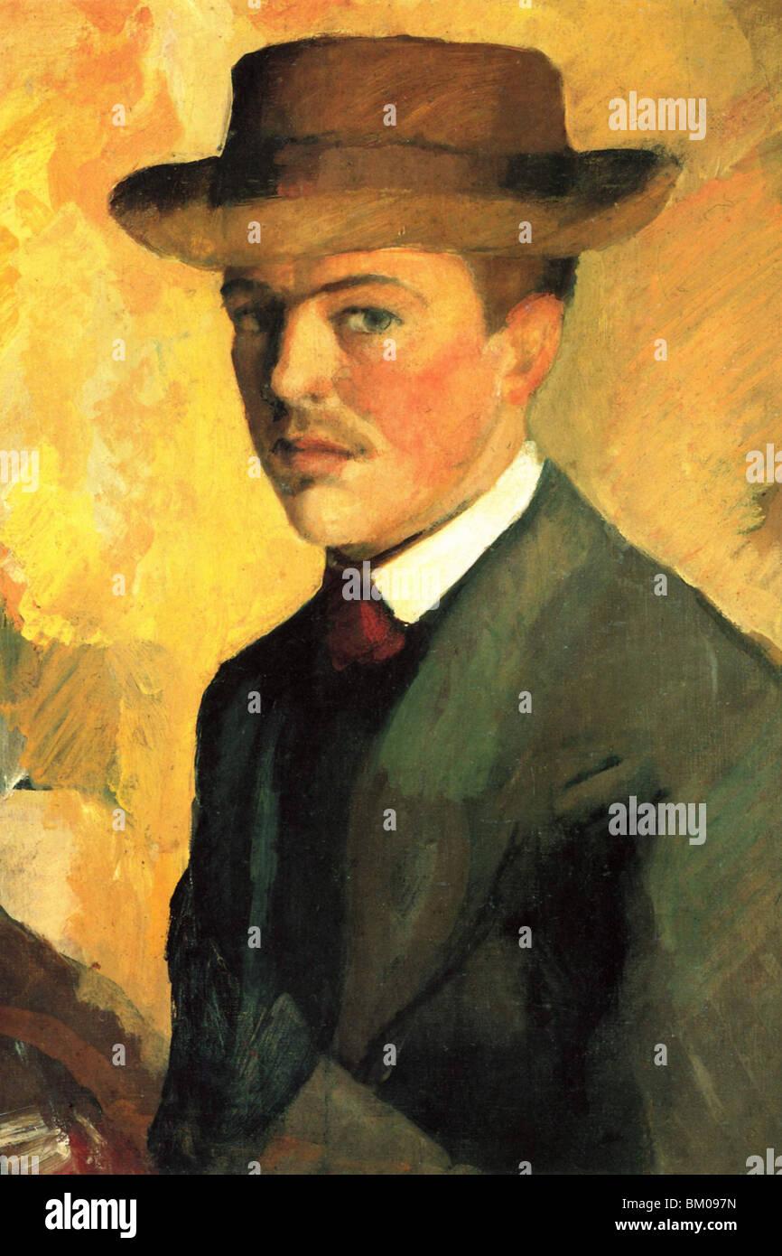 Autoritratto con cappello Immagini Stock